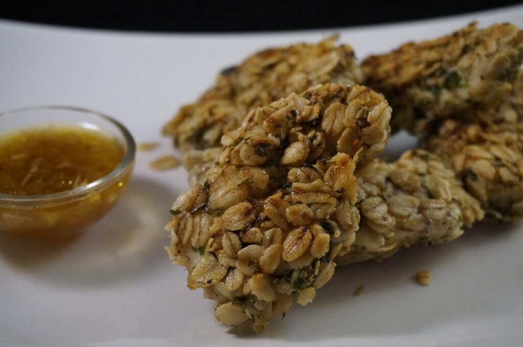 Haferflocken Chicken Nuggets  mit Käse-Bier-Dip