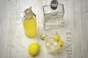 Selbstgemachter Tonic Sirup mit einem Gin Tonic von oben