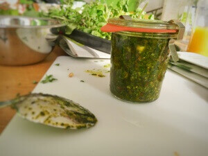 Pesto mit Thymian und Brunnenkresse