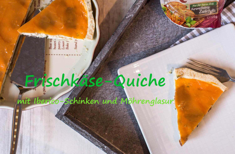 Iberico Frischkaese Quiche mit Moehrenglasur und Iberico Schinken