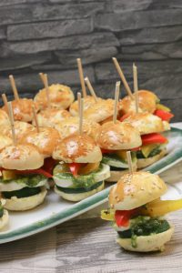 Partyrezept für vegetarischen kleinen Burger