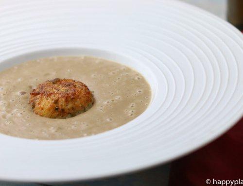Exotische Maronensuppe mit Kartoffel-Reisbällchen