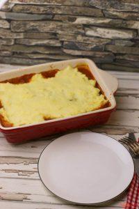 Currywurst Auflauf mit Kartoffelpüree gratiniert