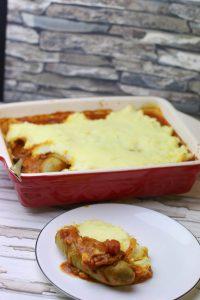 Currywurst Auflauf mit Kartoffelpüree überbacken