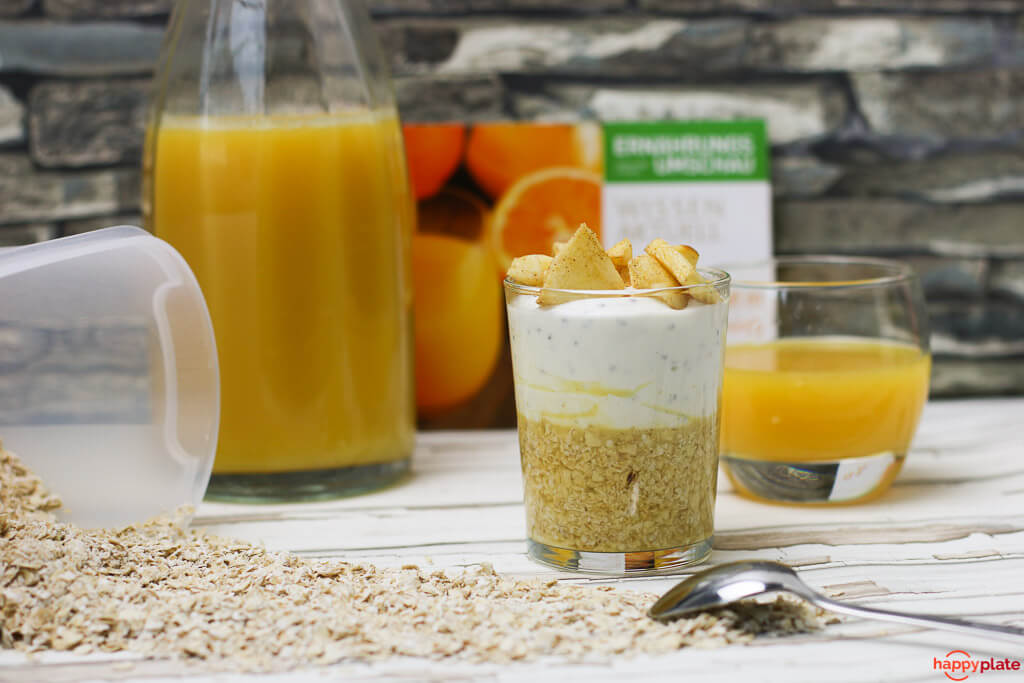 Overnight Oats mit Orangensaft und Joghurt