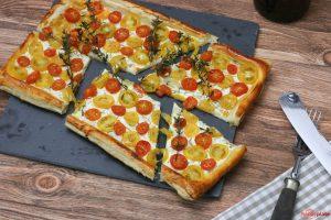 Tomaten Tarte mit gelben zomaten und Thymian