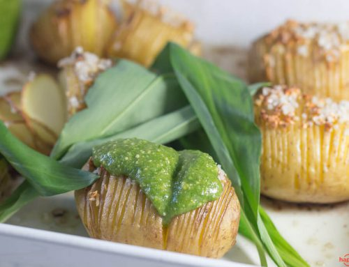 Hasselback Potatoes mit Bärlauch Pesto