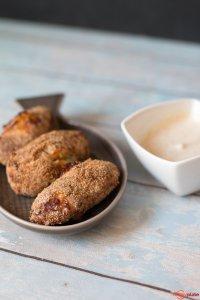 Süßkartoffel-Lachs-Kroketten mit Curry-Limetten-Dip