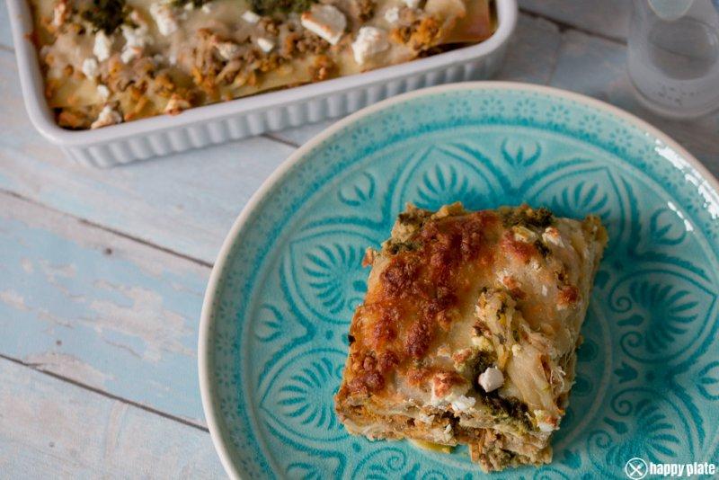 Orientalische Lasagne mit Lammhackfleisch und Hummus