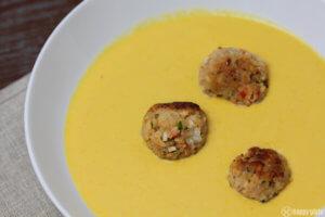 Rezept fuer Maissuppe mit Cajun - Garnelenbaellchen