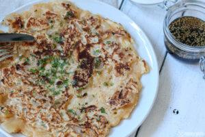 Kimchi Pfannkuchen mit Dip pancake