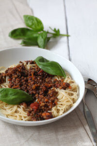 Vegane Linsen-Bolognese aus dem Schnellkochtopf