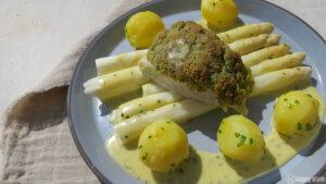 Spargel mit Sauce Bernaise und Zander bordolaise mit Bärlauch